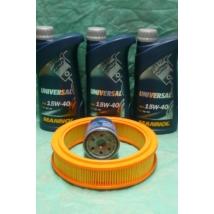 szervíz csomag szett olajcsere készlet Maruti 800 (Mannol 15w40 3x1L olaj +  olajszűrő, levegőszűrő)