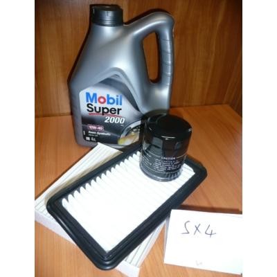szervíz csomag szett olajcsere készlet SX4  Mobil 10W40 4l.+ olajszűrő + levegőszűrő + pollenszűrő,  (olaj, motorolaj)