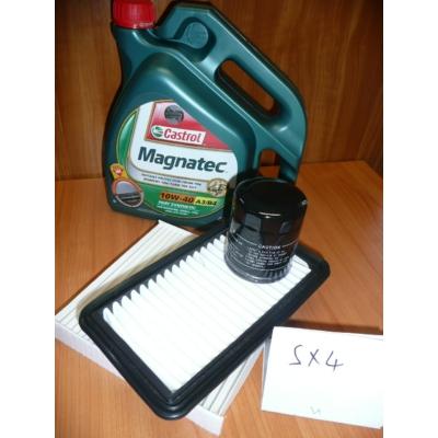 szervíz csomag szett olajcsere készlet SX4  Castrol 10W40 4l.+ olajszűrő + levegőszűrő + pollenszűrő,  (olaj, motorolaj)