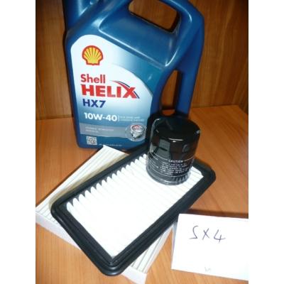 szervíz csomag szett olajcsere készlet SX4  Shell 10W40 4l.+ olajszűrő + levegőszűrő + pollenszűrő,  (olaj, motorolaj)